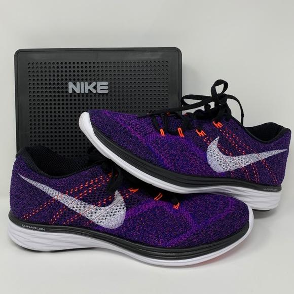 online store aa2ef 26a5d Nike Men s Flyknit Lunar 3 Running Shoe Purple